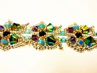 Beadwork Butterfly Bracelet Jewellery Kit with SWAROVSKI Gold and Turquoise
